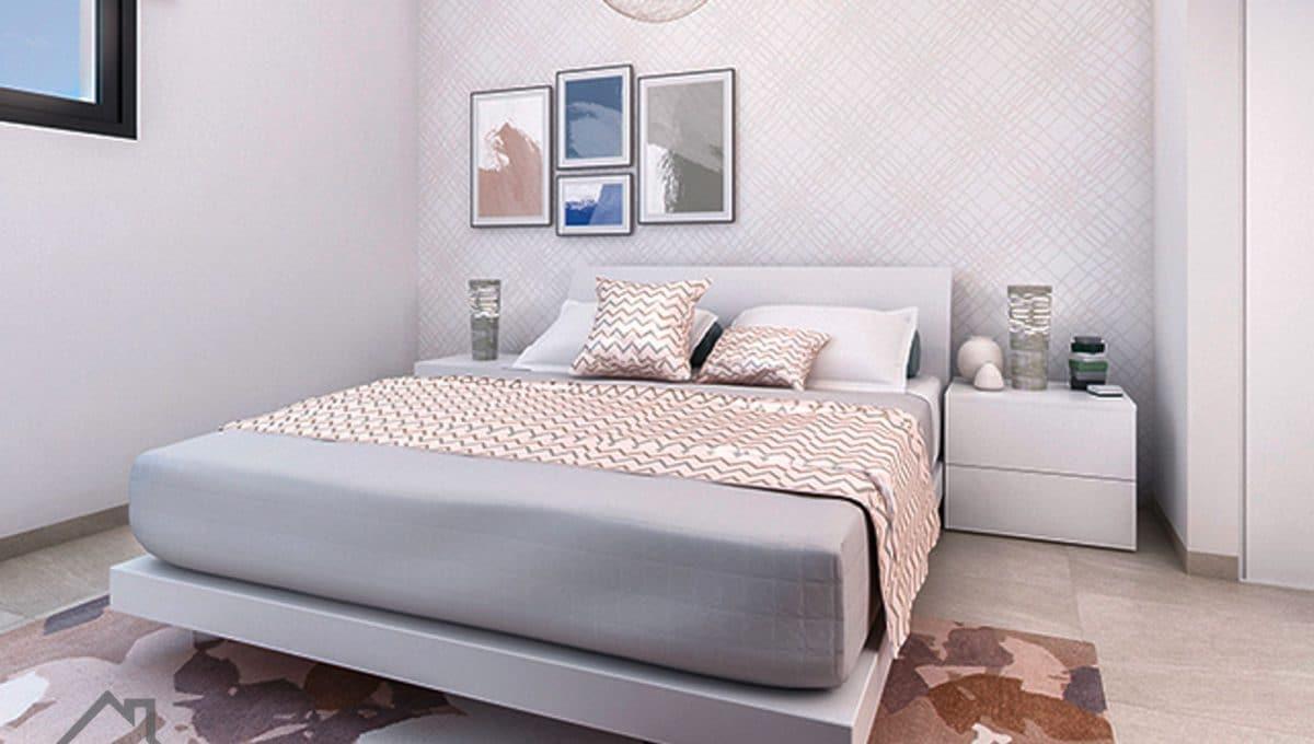 moderne schlafzimmer mit doppelbett in ein neubau