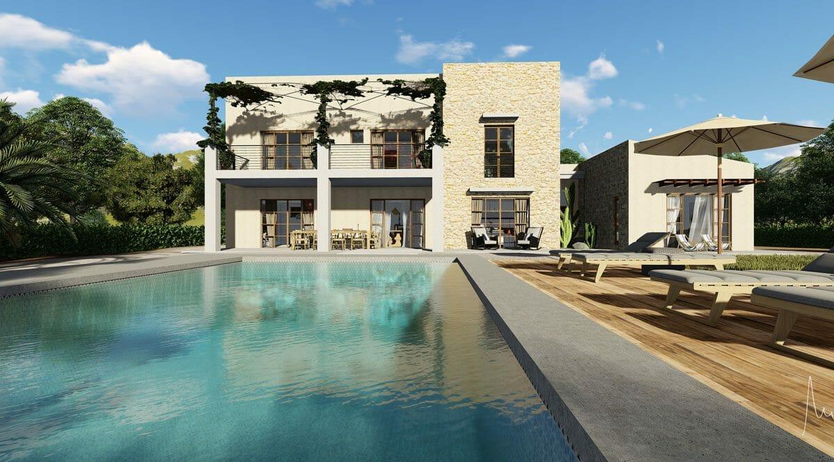 Moderne finca mit garten un pool