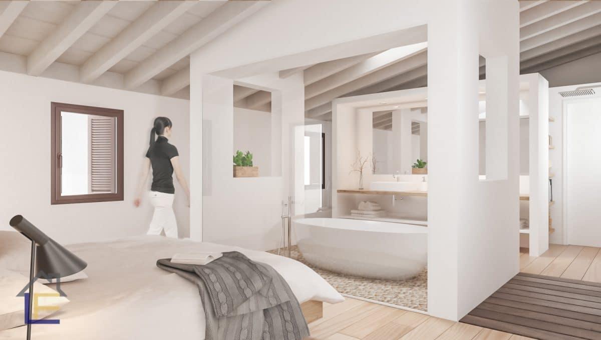 Schlafzimmer mit badewanne in suite in felanitx
