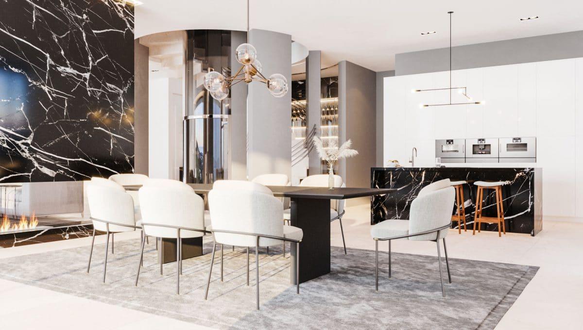 Küche und Esszimmer mit meerblick
