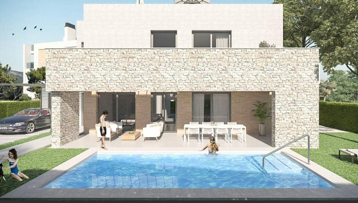 Pool-terrasse mit steinwand in Portocolom